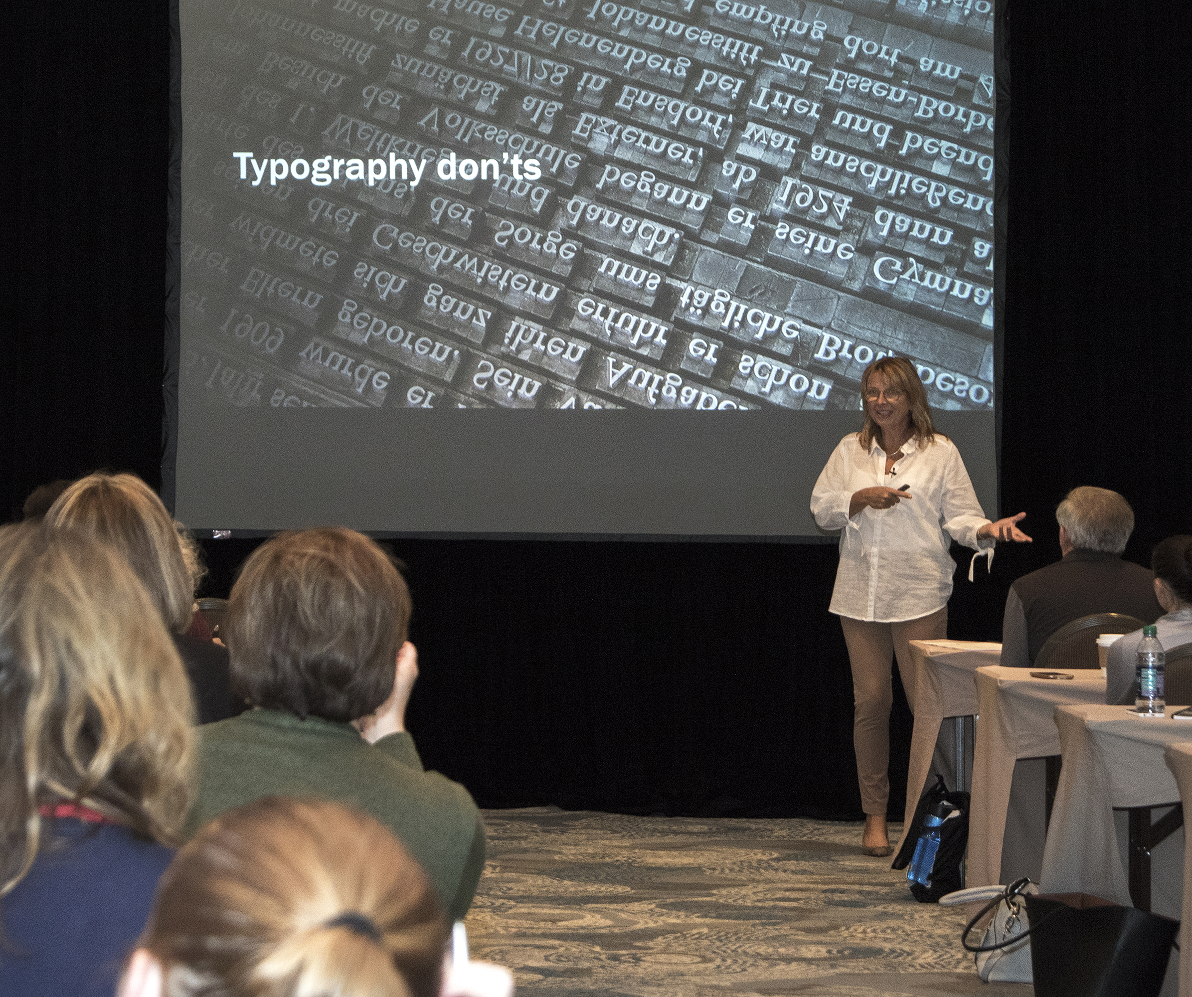 Julie presenting a typography session at the Presentation Summit
