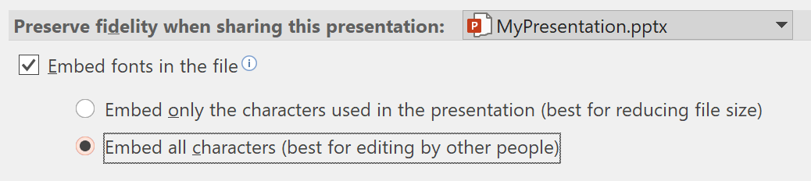 Embed fonts dialog Windows PowerPoint