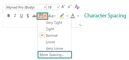 Character spacing drop down