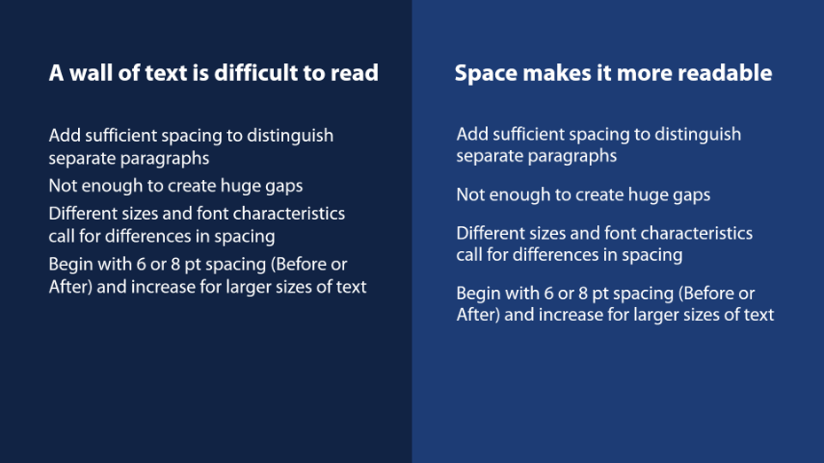 separate paragraphs with spacing