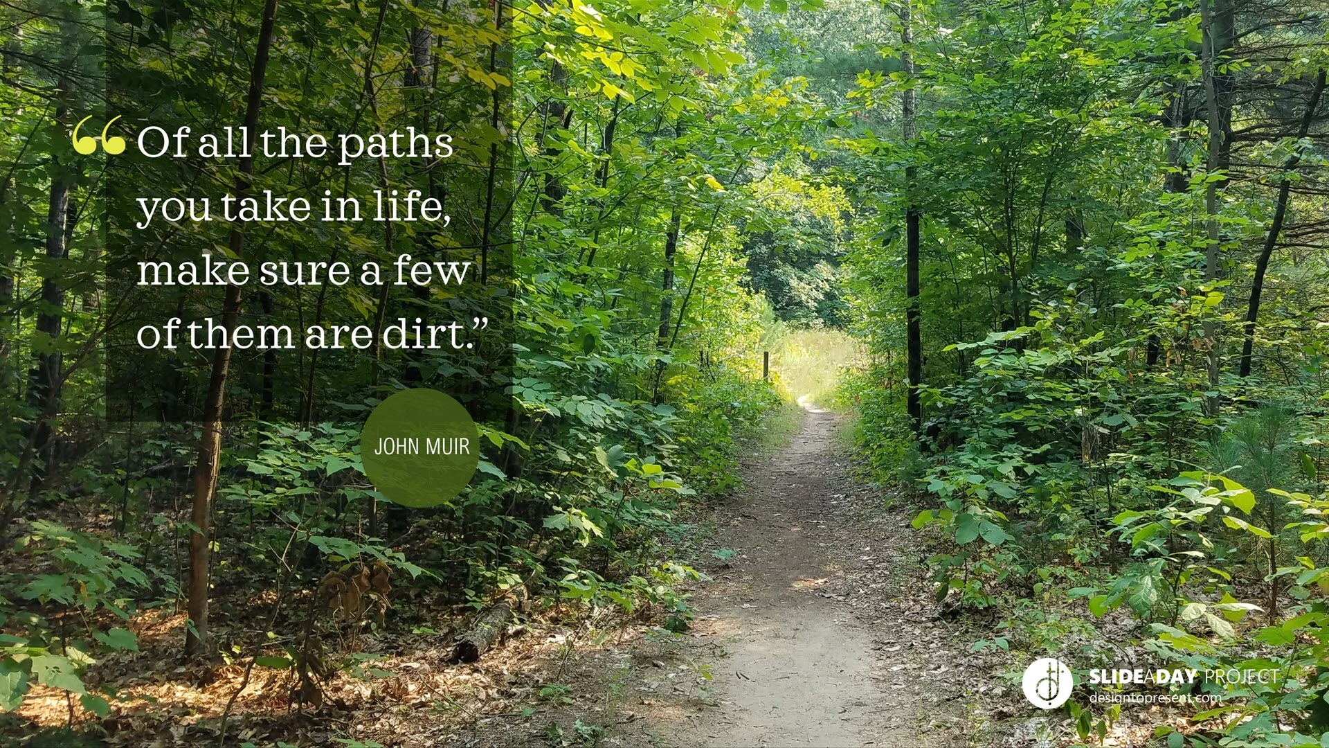 Picture of a path in the woods with John Muir quote